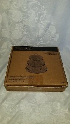 Pampered Chef Shimmering Glass Adjustable Tiered Tower #1958  Demo NIB