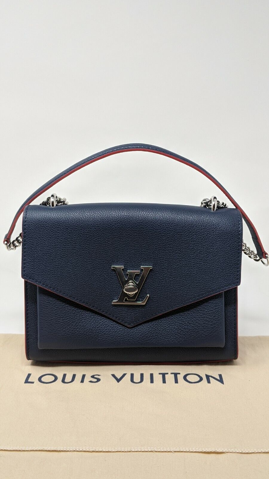 Louis Vuitton Mylockme Bb Navy Blue Red Leather Cross Body Bag M53197