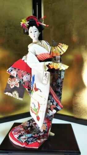 "Vintage Japanese Geisha doll in Kimono 17""  43cm on wooden base 21"" MINT"
