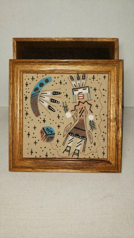 Vintage Native American Navajo Sand Painting Framed Art w/Box Signed G Tso MINT