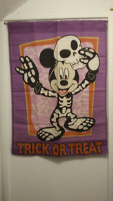 Walt Disney Mickey Mouse Halloween Skeleton Trick or Treat reversible 29x39 Flag - Reverse Trick Or Treating Halloween