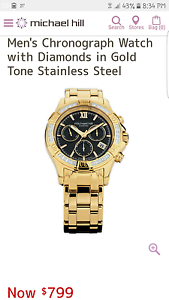 Mens Chronograph Watch with Diamonds in Gold Tone Stainless steel Alexander Heights Wanneroo Area Preview