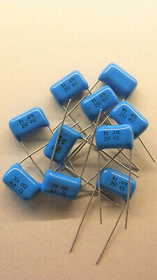 .47uf Mfd 250v 10 Tecate Radial Metallized Polyester Film Capacitor Lot Of 10