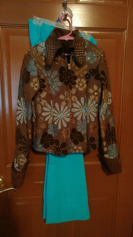 Youth Girls Showmanship Outfit Jacket and Pants Brown Blue Turquoise M 10/12