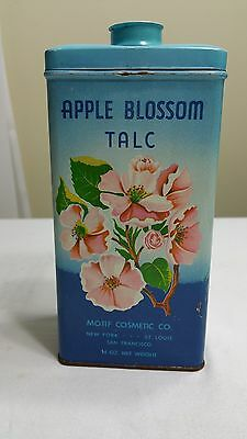 APPLE BLOSSOM TALC VINTAGE TIN WITH POWDER MOTIF COSMETIC CO. 14 OZ
