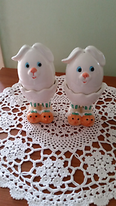 Bunny Rabbit Salt and Pepper Shakers/Egg Cups Rochedale South Brisbane South East Preview