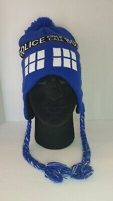 Doctor Who Tardis Police Box Knit Hat Laplander Beanie Pompom One Size Fits All