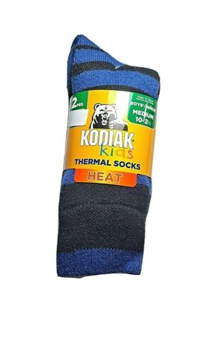 KODIAK Kids HEAT Boys Thermal Socks 2 pair pack Size M 10- 2.5  Black/Blue check
