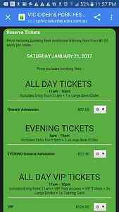 4x tickets to pork cider festival Noble Park Greater Dandenong Preview