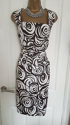 Jessica Howard Brown & White Print Shift Summer Dress size 16.        #C4