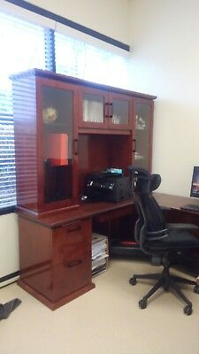 Used Office Furniture - Executive Desk W Hutch And Credenza - Cherry Wood