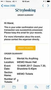 Mental as anything concert tickets- ALLOCATED SEATING Berwick Casey Area Preview