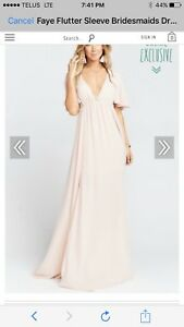 Lulus blush pink bridesmaid dress