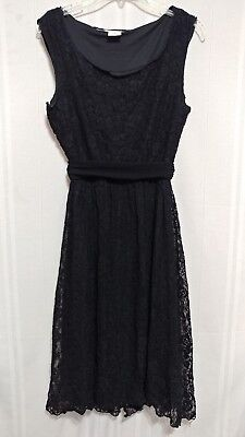 - Max Studio Black Lace Banded Waist Fit & Flare Dress Size Small ml