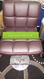 Dark brown faux leather bar stool chair. gas lift. swivels.