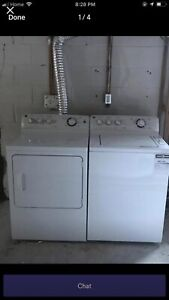 GE 2 yrs old white heavy duty top load washer electric dryer