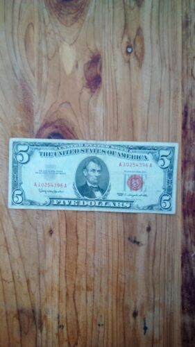 1963 Red Seal $5.00 United States  Bank Note You Grade