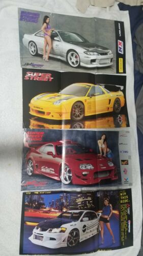 USED Super Street Car Magazine Centerfold Pull out Posters Lot 4 SUPRA NSX 240sx