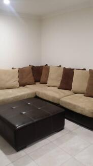 Large lounge with chaise and large ottoman