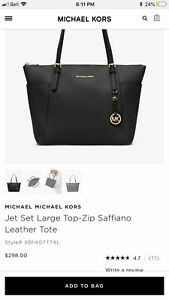 Michael Kors Jet Set Large Saffiano Top Zip Tote