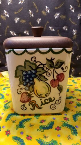 Vintage Ceramic Canister for Rice W/Wooden Lid Fruit Theme