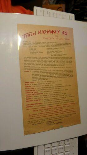 RARE Vintage TRAVEL HIGHWAY 50 VIA PLACERVILLE TO LAKE TAHOE FLYER Advertisement