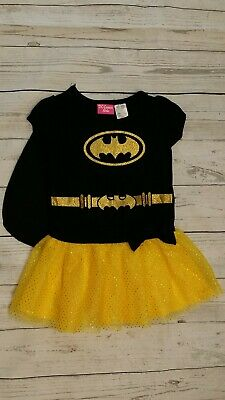 DC Comics 12-18 Month Batgirl Tulle Tunic Dress w/ Cape Yellow Glitter Costume