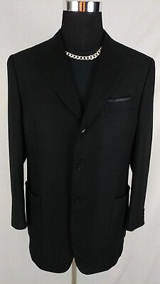 Canali Italy 100% Bamboo Soft Solid Black 3Button Blazer SportCoat Men Sz 40/41R