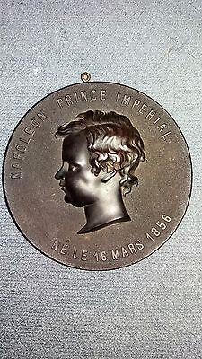 ANTIQUE BOIS DURCI PORTRAIT PLAQUE MEDALLION NAPOLEON PRINCE IMPERIAL 1856