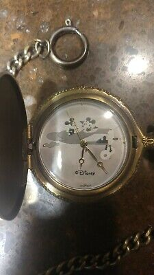 Mickey and Minnie Mouse Valdawn Pocket Watch Disney Plane Crazy Limited Edition