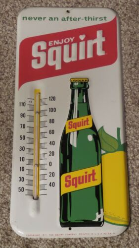 Vintage 1971 Squirt Embossed Metal Advertising Thermometer Soda Sign Made in USA