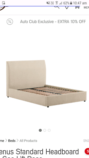 Snooze upholstered queen bed head and frame