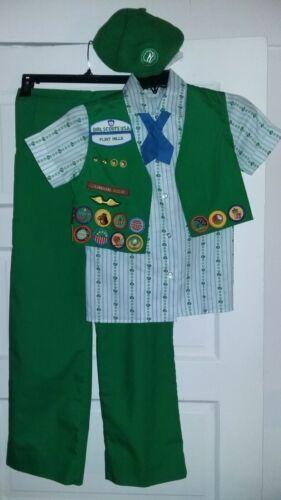 Vintage 1990 Girl Scout Uniform-Size10-Blouse/Pants/Tie/Beret/Vest-Costume