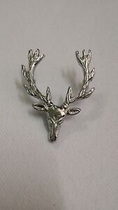 TC Scottish Stag Head Cap Badges/Glengarry Hat Badge Pin Silver/Brass,Military