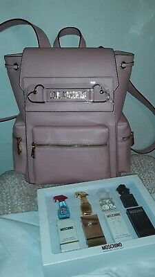 AUTHENTIC LOVE MOSCHINO BACKPACK AND MOSCHINO MINUTURE COLLECTION FRAGRANCE SET.