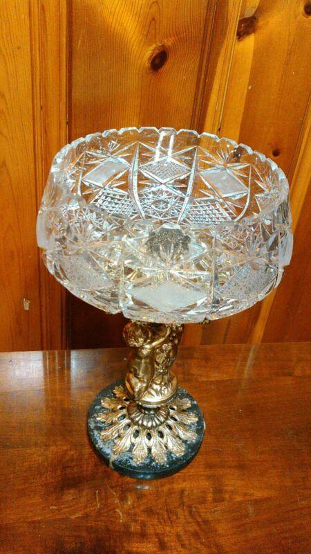 """Cut Crystal Bowl Cherub Marble Base BWM & Co.14""""x8.5"""""""