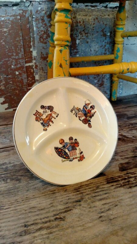 Vintage Porcelain Ceramic Baby Child Plate Divided Dish Graphics 1920s 30s