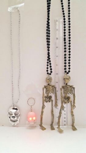 4 Halloween Skull Keychain & Necklace Jewelry Lot of 4 Skeletons & Skulls