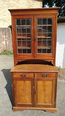 Antique Dresser Oak with lead glazed cupboard  -   Victorian/1920s?