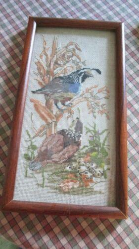 """Vintage Cross Stitch Pair Quail Corn Field Framed Glass 6 3/4"""" x 12 3/4"""" Wood"""