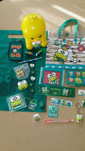 Sanrio  KEROPPI 1989 90s VINTAGE lot Stickers Vinyl Eraser Pencil Case JAPAN