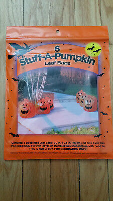 STUFF A PUMPKIN 6 Leaf Bags NEW     HALLOWEEN Decorations