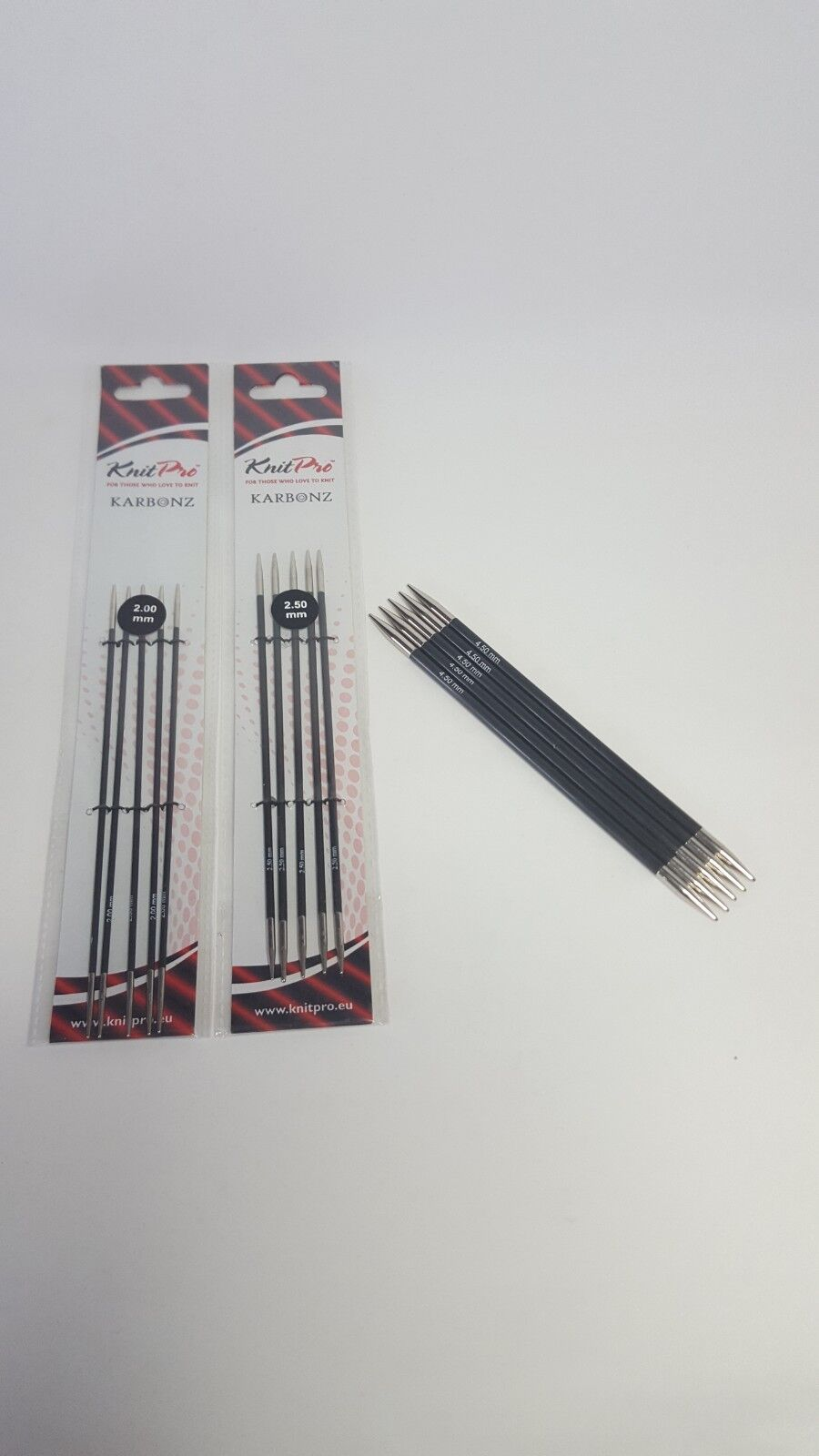 Knit Pro Karbonz 15cm or 20cm coloured double pointed sets of 5 knitting needles