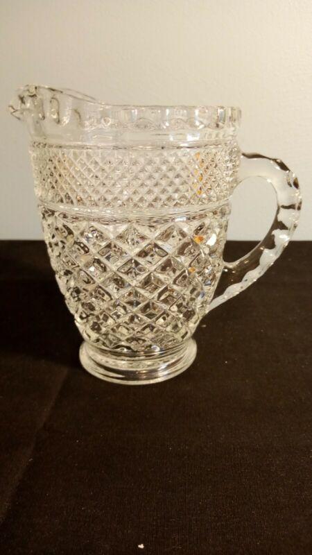 VTG ANCHOR HOCKING WEXFORD CUT GLASS CREAMER 1 PINT CREAMER/SYRUP PITCHER