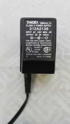 AC ADAPTER, 9 VOLT DC 100MA POWER SUPPLY TAMURA 212A2136 5.5MM X 2.1MM PLUG  100 Ma Power Supply
