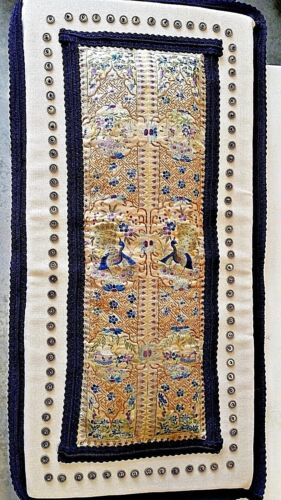 Chinese Embroidered Silk Peacock Gold Sleeve 2 Panel Pad Cushion Qing Dynasty