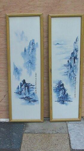 """PAIR ANTIQUE CHINESE BLUE &WHITE PAINTED PORCELAIN """"MOUNTAINS LANDSCAPE""""PLAQUES"""