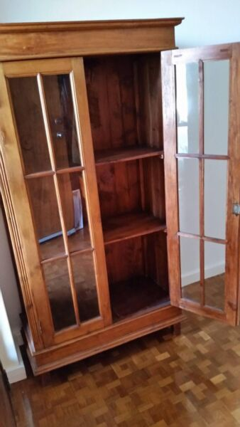 Wood Cabinet With Glass Doors Cabinets Gumtree Australia Holdfast
