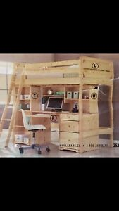 Pine Youth Loft Bed with ladder & rails, desk & hutch. L,R and W