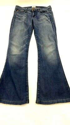 HUDSON WOMEN'S MED WASH BLUE DENIM LOW RISE FLARE LEG JEANS SIZE 26
